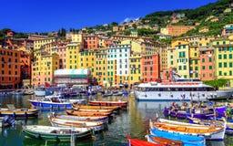 Kleurrijke Oude Stad van Camogli door Genua, Ligurië, Italië Royalty-vrije Stock Fotografie