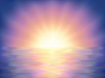 Kleurrijke overzeese zonsondergang stock illustratie