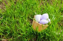 Kleurrijke paaseieren in een mand in het gras Royalty-vrije Stock Fotografie
