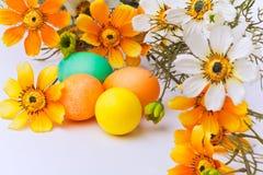 Kleurrijke paaseieren en bloemen Royalty-vrije Stock Afbeeldingen