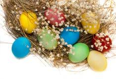 Kleurrijke paaseieren en een nest Royalty-vrije Stock Afbeeldingen