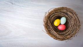 Kleurrijke paaseieren in rustiek nest op houten achtergrond vlak l Royalty-vrije Stock Afbeeldingen