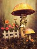 Kleurrijke paddestoelen en bloemen stock illustratie