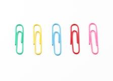 Kleurrijke paperclips Royalty-vrije Stock Foto's
