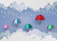Kleurrijke paraplu in de lucht met regen vector illustratie