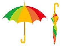Kleurrijke paraplu, open en gesloten royalty-vrije illustratie