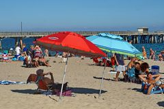 Kleurrijke paraplu's op het strand in Fort Lauderdale stock fotografie