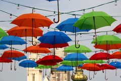 Kleurrijke Paraplu's in Zagreb, Kroatië royalty-vrije stock foto's