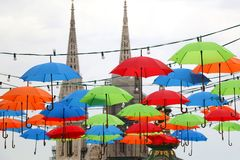 Kleurrijke Paraplu's in Zagreb, Kroatië royalty-vrije stock foto