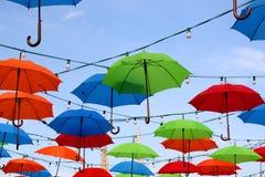 Kleurrijke Paraplu's in Zagreb, Kroatië stock fotografie