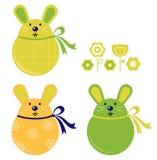 Kleurrijke Pasen geplaatste konijntjesstickers Stock Afbeeldingen