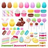 Kleurrijke Pasen-pictogrammen geplaatst vectorillustratie stock illustratie