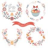 Kleurrijke Pasen verwante elementeninzameling Stock Foto's