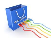 Kleurrijke patchcords die met kartonpakket wordt verbonden. Stock Foto's
