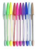 Kleurrijke pennen op een witte achtergrond Stock Afbeelding