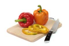 Kleurrijke peper aan boord Stock Foto