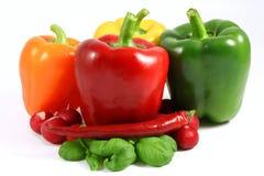 Kleurrijke peper en Spaanse peper Stock Foto