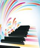 Kleurrijke pianoachtergrond Stock Afbeelding