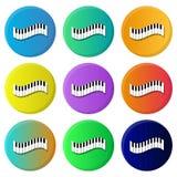 Kleurrijke pianopictogrammen Negen kleurenvariaties stock illustratie