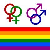 Kleurrijke pictogrammen van lesbische, vrolijke, de biseksuele, en transsexueellgbt rechten Vrouwen en man Homoseksualiteitsymboo royalty-vrije illustratie