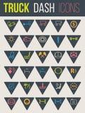 Kleurrijke pictogrammen voor vrachtwagendashboards 6 Stock Foto