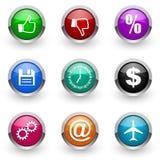 Kleurrijke pictogramreeks Stock Afbeeldingen