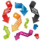 Kleurrijke pijl gestalte gegeven prijskaartjereeks Stock Afbeelding