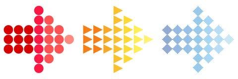 Kleurrijke Pijlpictogrammen Een eenvoudig teken van de kleur van een Webpictogram op een witte achtergrond De moderne stevige vla vector illustratie
