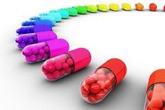 Kleurrijke pil die met tekst, bericht wordt gevuld van gezond Stock Fotografie