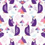 Kleurrijke pinguïnen in het naadloze patroon van Kerstmanhoeden vector illustratie