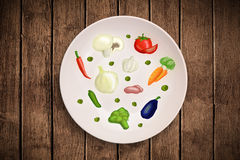 Kleurrijke plaat met hand getrokken pictogrammen, symbolen, groenten en Fr Royalty-vrije Stock Foto's