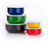 Kleurrijke plastic containers Stock Afbeelding