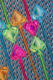 Kleurrijke plastic partijoogsten Stock Afbeeldingen
