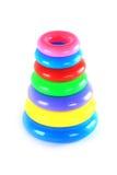 Kleurrijke plastic ringstoren stock foto's