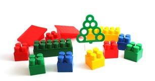 Kleurrijke plastic stuk speelgoed bakstenen Stock Fotografie