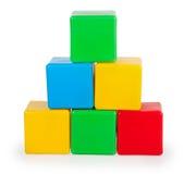 Kleurrijke plastic stuk speelgoed blokken Stock Foto's