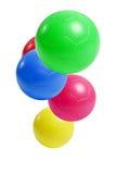 Kleurrijke plastic voetbalballen stock fotografie