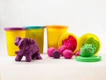 Kleurrijke plasticine Royalty-vrije Stock Foto's