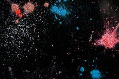Kleurrijke poederachtige plonsen, hoogste mening Royalty-vrije Stock Afbeeldingen