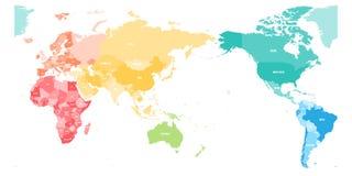 Kleurrijke politieke die kaart van Wereld in zes die continenten wordt verdeeld en op het gebied van Azië, van Australië en van O Stock Foto
