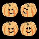 Kleurrijke pompoenen met het glimlachen gezichten, vectortekening royalty-vrije illustratie