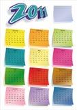 Kleurrijke post-itkalender 2011 Stock Fotografie