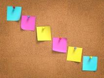 Kleurrijke post-its aan boord Stock Fotografie