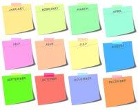 kleurrijke post-it met maanden - de illustratie van het kalenderpictogram vector illustratie