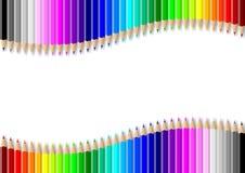 Kleurrijke potlodenmuur op lege witte achtergrond vector illustratie