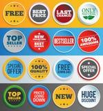 Kleurrijke promoetiketten en stickers stock illustratie