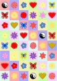 Kleurrijke rechthoeken als achtergrond met verschillende voorwerpen Stock Afbeelding
