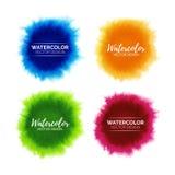 Kleurrijke reeks abstracte waterverfvlekken Stock Afbeeldingen