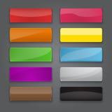Kleurrijke reeks knopen van de Webbanner met verschillende glansreflecti