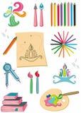 Kleurrijke reeks kunstlevering Stock Afbeeldingen